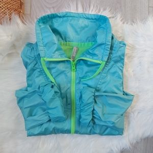 Neon green and blue Old Navy wind breaker jacket